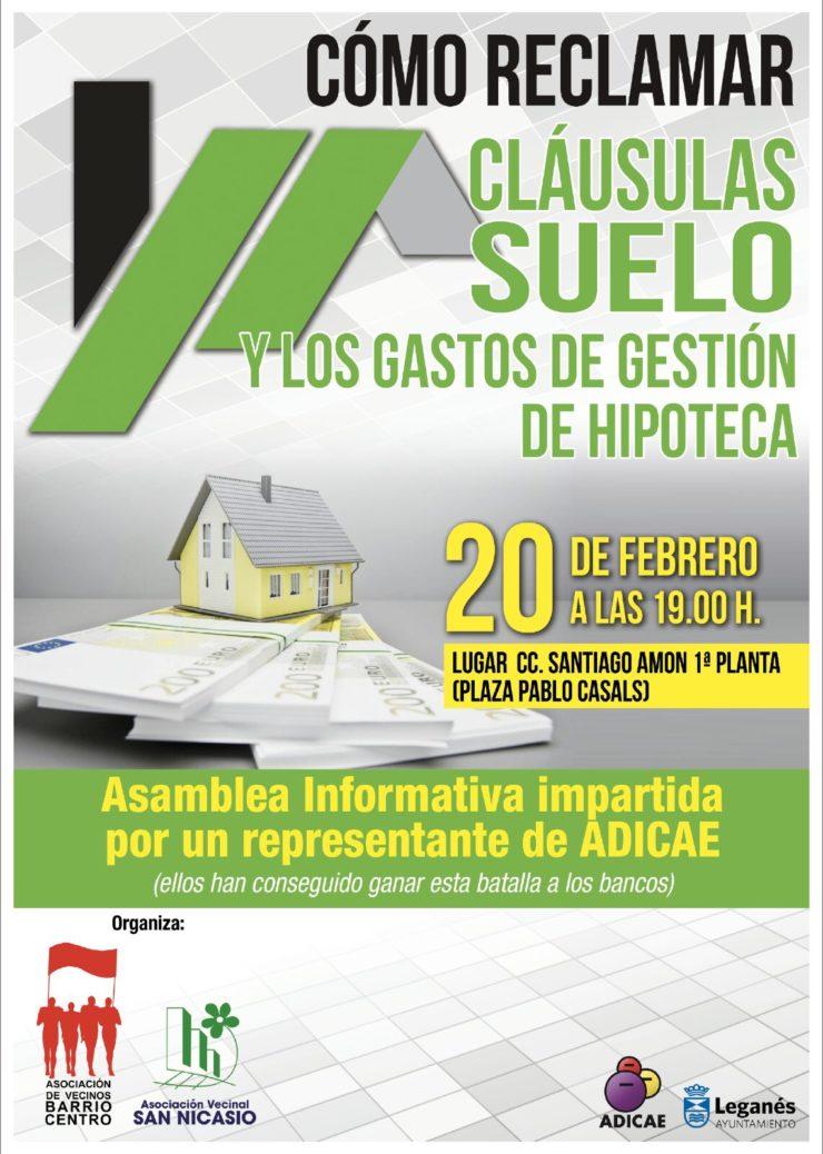 Asamblea CÓMO RECLAMAR LA CLÁUSULA SUELO ASOCIACION VECINAL SAN NICASIO ASOCIACIÓN VECINAL BARRIO CENTRO ADICAE