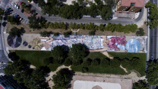 GRAFFITI COLABORATIVO SUEÑA TU MUNDO SUEÑA TU BARRIO ASOCIACIÓN VECINAL SAN NICASIO SFHIR XANDRA LUNAR (2)