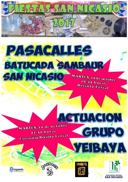 Pasacalles Batucada SAMBAUR y actuación grupo Yeibaya ASOCIACIÓN VECINAL SAN NICASIO FIESTAS SAN NICASIO 2017