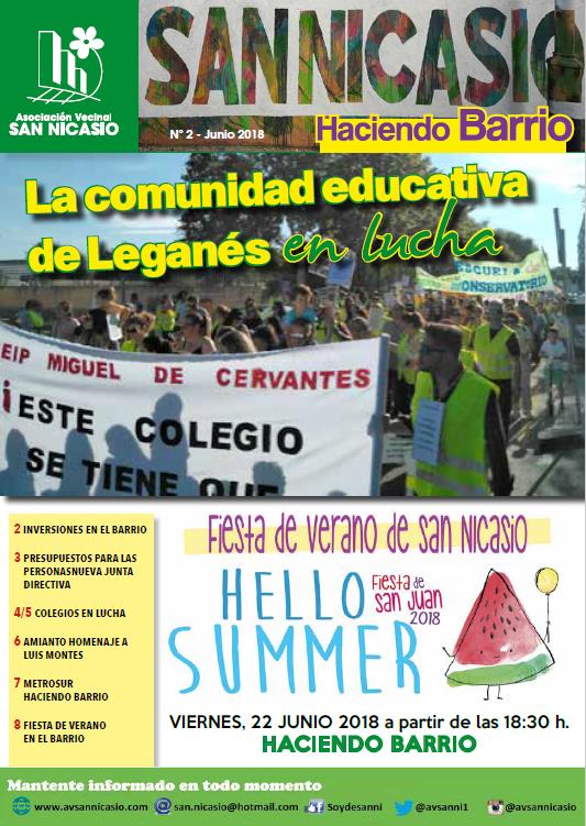 Boletín Haciendo Barrio N2 Asociación Vecinal San Nicasio
