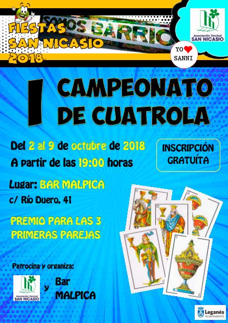 I Campeonato CUATROLA 2018 Fiestas San Nicasio Asociación Vecinal San Nicasio