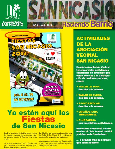Boletín Haciendo Barrio SN N3 Asociación Vecinal San Nicasio